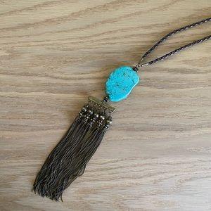 FREE PEOPLE Turquoise Gold Boho fringe Necklace